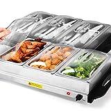 VENDOMNIA Buffetwärmer mit Deckel - Heizplattenfunktion, 300 W, elektrisch, groß, 3x2.5L, Temperaturregler, Edelstahl - Speisewärmer, Warmhaltegerät, Warmhaltebehälter, Warmhalteplatte für Party