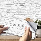 SXXDERTY 27 Stück Selbstklebende wasserdichte PVC-Fliesenaufkleber Zementfliesen-Design Dekorativer Wandaufkleber für das Badezimmer in der Küche (weißer Grauer Backstein), 54 Stück