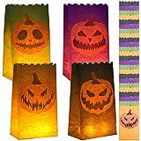 URATOT 24 Stück Halloween Kürbis Leuchttüten Jack-o'-Lantern Papiertüten Papierlaternentüten Flammbeständige Kerzentüten mit 4 Kürbis-Silhouetten für Zuhause, Halloween, Party