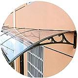 Überdachung Haustür Vordach Türdach Haustürvordach Regen Schneebeständig Veranda Polycarbonat-Blatt Mit Aluminium Halterung, Tiefe 60/80/100 / 120cm (Color : Clear, Size : 120x120cm)