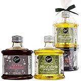 Gepp's Feinkost Italienisches Duett - Premium Essig & Öl Geschenkset I 9 Jahre im Fass gereifter Balsamico Essig & natives italienisches Olivenöl I Schöne Stapelflaschen mit Satinschleife (202021)