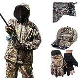 Men's Camouflage Fishing Set, Sonnenschutzbekleidung Outdoor Moskito Anzug Jacke Hose Handschuhe Set Beobachtung von Tieren