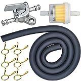 Benzin Kraftstofffilter Kit Ø4mm Kraftstoffleitung Benzinschalter des Benzinhahns Schlauchleitung Kraftstofffilter mit 6 Schlauchschellen für PKW Auto Motorrad Rasenmäher Roller D