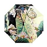 FakeFace® Silber Coating Regenschirm Sonnenschirm 3 Faltbar Doppeldach 8 Rippen Manuell Öffnen UV-Schutz Schirm für Damen Herren Outdoor Camping Reise Alltag 108 cm (Opera Mädchen)