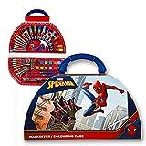 Undercover SPMA4220 - Malkoffer Set, Marvel Spider-Man, mit Filzstiften, Wachsmalkreiden, Wasserfarben und viel Zubehör, 51 teilig