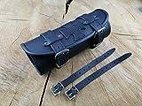 Lenkerrolle schwarz Malteser Kreuz von ORLETANOS kompatibel mit HD Harley Davidson Echtleder Lederrolle Rolle Werkzeugrolle Bugrolle Leder Chopper verstärkt Motorradtasche Motorrad Tasche