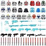 Gedar Waffen Set für Lego Star Wars Minifiguren, Helm, Maske, Langschwert, Blaster für Lego Star Wars Waffen, Laserschwertern für Lego Clone Wars Minifiguren, 63St