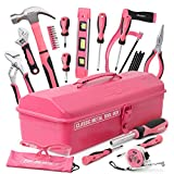 Hi-Spec Retro Pink Rosa Werkzeugkiste mit einer vielzahl von Werkzeugen die jede Frau braucht auch für Mädchen geeignet, alles in einer Stylischen Metalwerkzeugkiste
