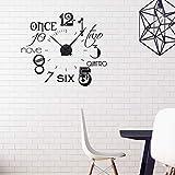GRAZDesign Wandtattoo Uhr mit Uhrwerk - Wanduhr für Wohnzimmer - Zahlen international modern 67x57cm Farbe schwarz/Uhrwerk schw