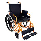 Mobiclinic Standard Rollstuhl, Faltrollstuhl mit Klapparmlehnen, orange, Sitzbreite 46 cm, Modell Giralda