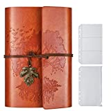 PU-Leder-Tagebuch, Blanko-Seiten, nachfüllbar, Vintage-Skizzenbuch, Reise-Notizbuch, Tagebuch, Geschenk für Mädchen, Jungen, Frauen, Männer, 18,5 x 13 cm,