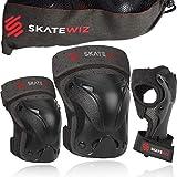 SKATEWIZ Protect-1 Skater Schutzausrüstung Kinder - Größe S in SCHWARZ - Ellenbogenschoner Knieschützer und Handgelenkschoner Kinder