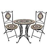 Wohaga® 3tlg. Mosaik Gartengarnitur Mosaiktisch Ø60cm + Klappstühle/Sitzgarnitur Sitzgruppe Gartenmöbel Balkonmöbel