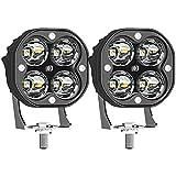 JZlamp 2Pack IP67 wasserdichte 3-Zoll-LED-Arbeitslicht-Balken, 5400LM 6000K Off Road Motorrad-Traktoren Fahrlampen White-Quadrat-Scheinwerfer, für LKW außerhalb der Straße
