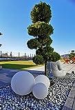 Trango 3er Set 23400WB IP65 Gartenkugel in Weiß matt mit 20/30/40cm Durchmesser *SNOW* Kugelleuchte inkl. je 1x 4-5 Watt E27 LED Leuchtmittel & je ca. 5 Meter IP44 Kabel, Gartenleuchte, Leuchtkug