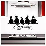 Grandora Wandtattoo Topfgucker 5 Vögel I schwarz 58 x 27 cm I Küche Spruch Zitat Aufkleber selbstklebend Wandaufkleber Wandsticker W862