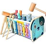 KIDWILL Xylophon und Hammerspiel, Pädagogisches Vorschullernen Holzspielzeug Musikspielzeug Lernspielzeug mit Xylophon & Labyrinth & Hämmern, Geschenk für Kinder Junge Mädchen ab 1 Jahr