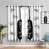 LucaSng Blickdicht Vorhang Wärmeisolierender - Schwarz Koffer einfach Buchstaben - 234x230 cm - Junge mit Mädchen Schlafzimmer Wohnzimmer Kinderzimmer - 3D Digitaldruck mit Ösen Thermo Vorhang