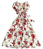 Laura Lily - Damen-Kleid im Boho-Stil, für Partys, Büro, Hochzeiten und Strand., Ella Spring weiß, One size