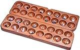LOGOPLAY 364 - Hus groß mit Magnetverschluss - Spielfeld 28 x 46 cm - Bao - Kalaha - Bohnenspiel - Muschelspiel - Edelsteinspiel - Steinchenspiel aus Samena-Holz - inkl. Edelsteinen