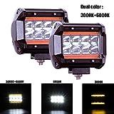 4' Paar CREE LED Projektor 120W 12000LM LED Bar Hallo Lo Strahl Reinweiß 6000K+3000K Bernstein Gelb Augen Engel 9-30V OFF-ROAD Scheinwerfer Arbeitsscheinwerfer Flutlicht Nebelscheinwerfer LKW Traktor
