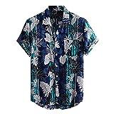 DYXYH Sommer Männer Hawaiihemd Kurzarm Streetwear Blumendruck Baumwollbluse Revers Strand Casual (Color : Blue, Size : M code)