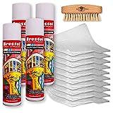 GRAFFITIENTFERNER 4x 400 ml Spray SET (7589.6) - inkl. Chemikalienbindevlies & Bürste - Graffitilöser Farbabbeizer Farblöser Farbentferner Lackentferner Lacklöser Lasurlöser Abbeizmittel Abbeizer