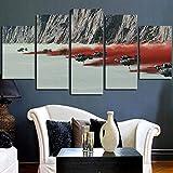 GSDFSD Bilder Star Wars Der letzte Jedi 150X80 cm 5 Teilig Leinwandbilder Bild Auf Leinwand Wandbild Kunstdruck Wanddeko Wand Wohnzimmer Wanddekoration Deko