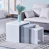 GOLDFAN Beistelltisch Set 3er Couchtisch Weiße Grau Hochglanz Moderne Couchtisch Kaffeetisch Set Klein Tisch Wohnzimmer