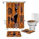 YCDtop African Woman Silhouette Geometrische Kultur Duschvorhang Sets Teppiche Toilettendeckelabdeckung und Badematte wasserdichte Badvorhänge 180x180cm (71x71in)