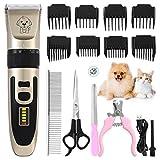 Tierhaarschneidemaschine, Leise Hundeschermaschine mit USB-Kabel, Zwei Geschwindigkeiten, LED-Anzeige, Hochleistungs-Lithiumbatterie, Wiederaufladbare Elektrische Haarschneider für alle Haustiere