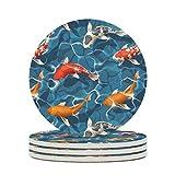 WellWellWell Japan Koi Fisch Untersetzer aus Keramik Lustige Runde Keramik Glasuntersetzer mit Korkrücken rutschfest für Tassen Urlaubsparty Durchmesser von 9.8 cm White 6pcs