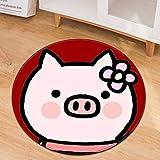 Runder Teppich Mit Schweinemuster Im Cartoon-Muster Stuhlkissen Für Den Heimcomputer Bürostuhlbezug Rutschfestes Verschleißfestes M