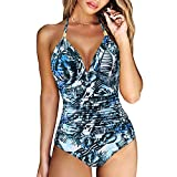 RXRXCOCO Women V Neck One Piece Swimsuits Tummy Control Ruched Swimwear Halter Bathing Suit Blue Floral Print Small