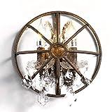 LCLZ Jahrgang industrielle Wandleuchte Shabby Kristallwand-Lampen Halbrund 2 flammig Loft Wandleuchte, Kupfer, 3W