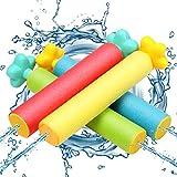 infinitoo Wasserpistole 4 Stück Schaumstoff Spritzpistolen Set, Water Gun mit 6-8 Meter Reichweite Blaster Spielzeug für Kinder Party Strand Pool etc. - Blau, Orange, Rot, Grün
