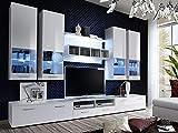 KRYSPOL Wohnwand ALFA II Anbauwand, Wohnzimmer-Set, Modern Design (Weiß/Weiß Hochglanz + Weiß Hochglanz)