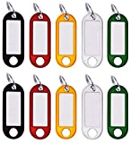 M&H-24 Schlüsselanhänger beschriftbar zum Beschriften, Schlüsselschilder zum beschriften mit Ring auswechselbare Etiketten in Schwarz, Rot, Gelb, Weiß, Grün Kunststoff 10 Stück