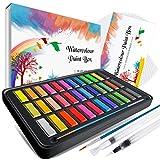 Emooqi Wasserfarben-Set, Premium-Aquarellfarben, Box mit 36 Farben, feste Pigmente, 2 Hakenlinienstifte, 2 Wassertank-Pinsel, 10 Aquarellpapiere, wasserlöslich und gut mischbar