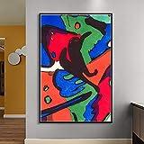 Drucken auf Leinwand Geometrische abstrakte Leinwandkunst auf Bildplakaten und Wohnzimmerdekorationskunst,50x75cm,Rahmenlose Malerei