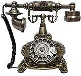 FHISD Telefon, Vintage-Retro-Festnetz-Haustelefon-Hörer, Vintage-Telefon/funktionale Wählscheibe und Klassische Telefonsteckdose Telefone für Zuhause