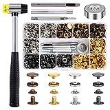 Qfun Druckknopf Set mit Zange, 120 Set Kupfer Druckknöpfe Metall Bronze Kleidung Snaps Taste mit Fixierwerkzeug Kit für Leder Handwerk Jacke Brieftasche Handtasche (4Farben, 12 mm)