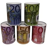 GW Handels UG 3 er Set Spardose Geldschein Euroschein Metall Sparbüchse Geldschein Sparschwein Euro Sparen