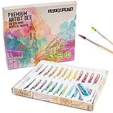 24 Acrylfarben Set (12ml/Tube) für Papier, Leinwand, Glas, Stein, Holz, Stoff & Keramik