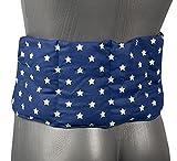 Kirschkernkissen 7-Kammer mit Band, 65x15 - Wärmekissen Rücken, Körnerkissen - Kissen mit Bänder, Kirschkerne, Sterne-blau