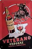 VETERANO Osborne Brandy Blechschild, hochwertig geprägtes Retro Werbeschild, Türschild, Wandschild, 30 x 20 cm