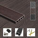 Montafox WPC Terrassendielen Dielen Komplettset Hohlkammerdiele Komplettbausatz Unterkonstruktion Clips, Größe (Fläche):16 m² 2.2m, Farbe:Dunkelbraun
