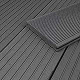 HORI® WPC-Terrassendiele Massiv I Vollprofil I Grau I Dielenlänge: 290 cm