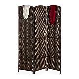 Relaxdays Paravent Raumteiler, HxB: 170x120 cm, Faltbarer Raumtrenner, 3-teiliger Sichtschutz, Holz & Papierseil, braun