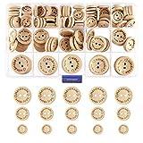 KKTICK Knöpfe Holz, 140 Stück Runde Knöpfe, Natur Holzknöpfe Kleine Runde Knopf, für Nähen Handwerk DIY Dekorationen (15mm 20mm 25mm)